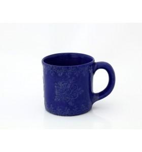 Kerámia bögre, tea típus, kék, dísznövény virág díszítés