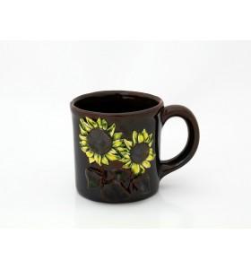 Kerámia bögre, tea típus, sötétbarna, sárga napraforgó dísz