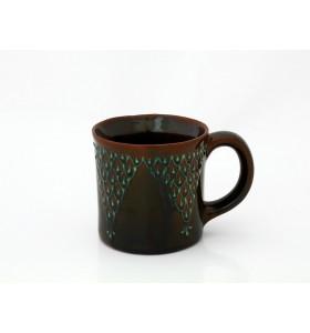 Kerámia bögre, tea típus, barna, világos pikkelyes minta