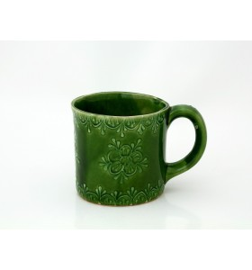 Kerámia bögre, tea típus, zöld, virág díszítés