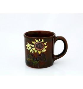 Kerámia bögre, tea típus, sötétbarna, sárga és piros napraforgó