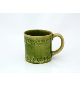 Kerámia bögre, tea típusa, zöld, pikkelyes minta