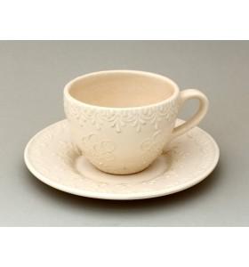 Csésze, kávé, fehér, virágos csészealj