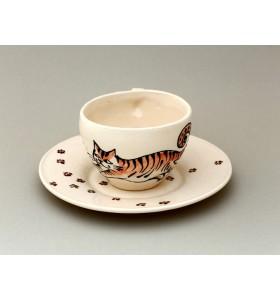 Csésze, kávé, fehér, rózsaszín cica csészealjjal