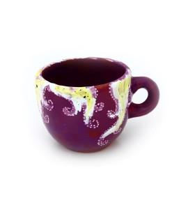 Csésze, kávé, fehér-sárga, lila, tengeri csillag