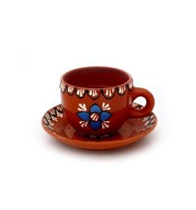 Csésze, kávé, barna, virág kék, fehér vonalak