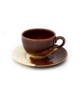 Csésze, kávé, barna-bézs csészealj