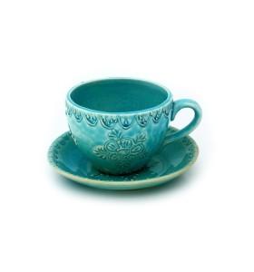 Csésze, kávé, világoskék, virág színű csészealjjal