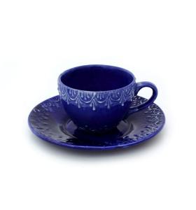 Csésze, kávé, sötétkék, virág színű csészealjjal