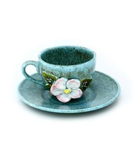 Csésze, kávé, kék, fehér, fehér virág és csészealj
