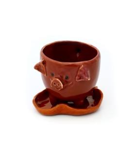 Csésze, kávé, malacka bank barna csészealjjal, barna