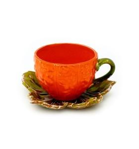 Csésze, kávé, sütőtök, narancs