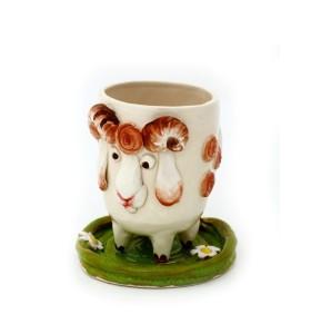 Csésze, csészealj állat, bárány, fehér