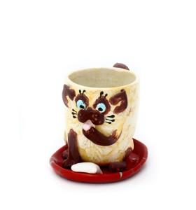 Csésze, csészealj, macska,