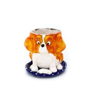Csésze, csészealj, kutya, fehér-narancs