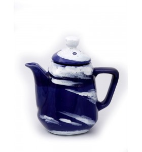 Teáskancsó, szögletes, kék láva (fehér, kék)