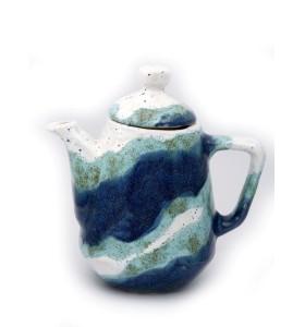 Teáskancsó, szögletes, kék szivárvány