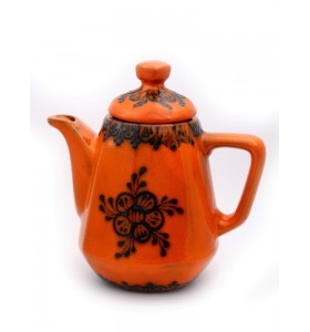 Teáskancsó, szögletes, narancssárga, fekete virág
