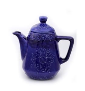 Teáskancsó, szögletes, kék, virág minta