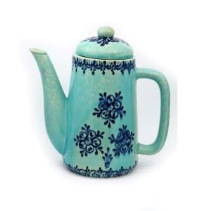 Teáskancsó, henger, világoskék, kék virág