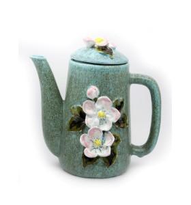 Teáskancsó, henger, kék, fehér virágok
