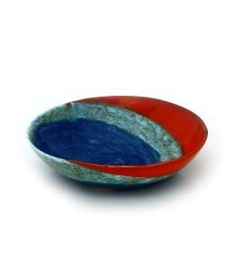 Tál, közepes sekély, kék, szivárvány narancs-barna