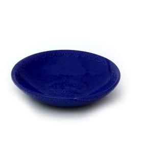 Tál, közepes sekély, kék, virág azonos színben