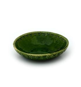 Tál, közepes sekély, zöld, pikkelyes minta, lombozat kívül