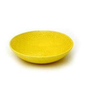 Tál, közepes sekély, sárga, virág színű