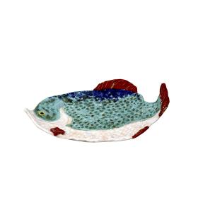 Tányér, nagy hal, világoskék-fehér, bordó úszó
