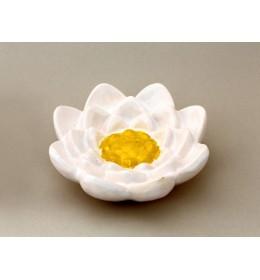 Szappantartó, lótuszvirág, fehér, sárga dísz