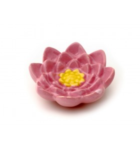 Szappantartó, lótuszvirág, rózsaszín, sárga dísz