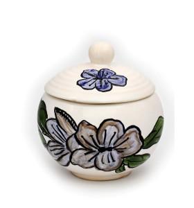 Cukortartó fehér festett virag