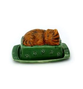 Doboz, téglalap, zöld, cica