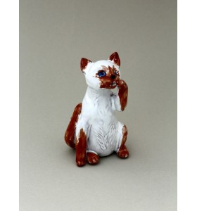 Fűszertartó, macska ül, barna-fehér, fehér