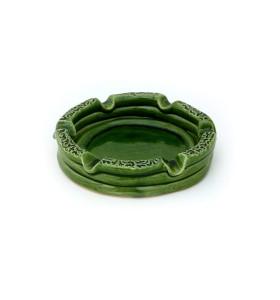 Hamutál, kerek, kicsi, zöld, körben mintával díszítve
