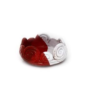 Tál és váza, fehér, kerek, fehéres piros, egy sor nagy csigákból