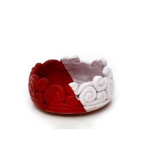 Tál és váza, fehér, kerek, fehéres piros