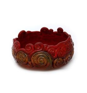 Tál és váza, barna, kerek, kétszínű barna, piros