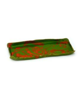 Tálca, zöld, narancssárga motívumokkal
