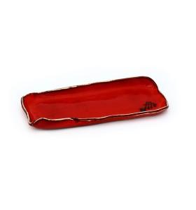Tálca, sushi, keskeny, rövid, piros, kínai minta