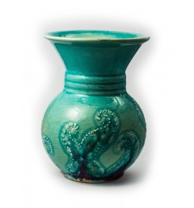 Váza, kicsi, karika, világoskék, tengeri csillag, lila minta