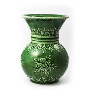 Váza, kicsi, karika, zöld, virág azonos színben