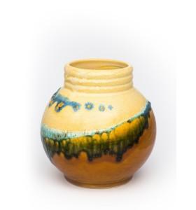 Kis gömb váza nyakkal 12cm sárga kék zöld