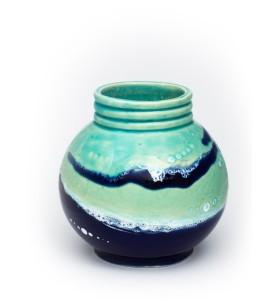 Kis gömb váza nyakkal 12cm kék