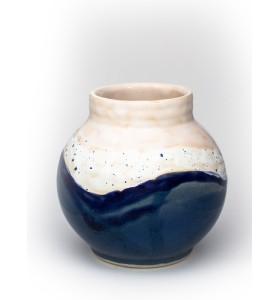 Kis gömb váza nyakkal 12cm kék fehér rózsaszín