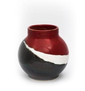 Kis gömb váza nyakkal 12cm piros fehér szürke