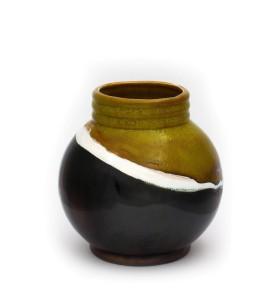 Kis gömb váza nyakkal 12cm zöld fehér szürke