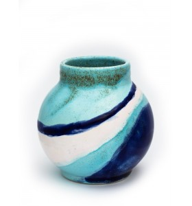 Kis gömb váza nyakkal 12cm kék fehér