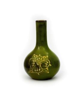 Váza, orchidea, kicsi, zöld, sárga többszirmú virág